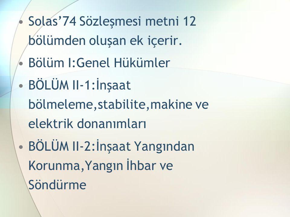 Solas'74 Sözleşmesi metni 12 bölümden oluşan ek içerir. Bölüm I:Genel Hükümler BÖLÜM II-1:İnşaat bölmeleme,stabilite,makine ve elektrik donanımları BÖ