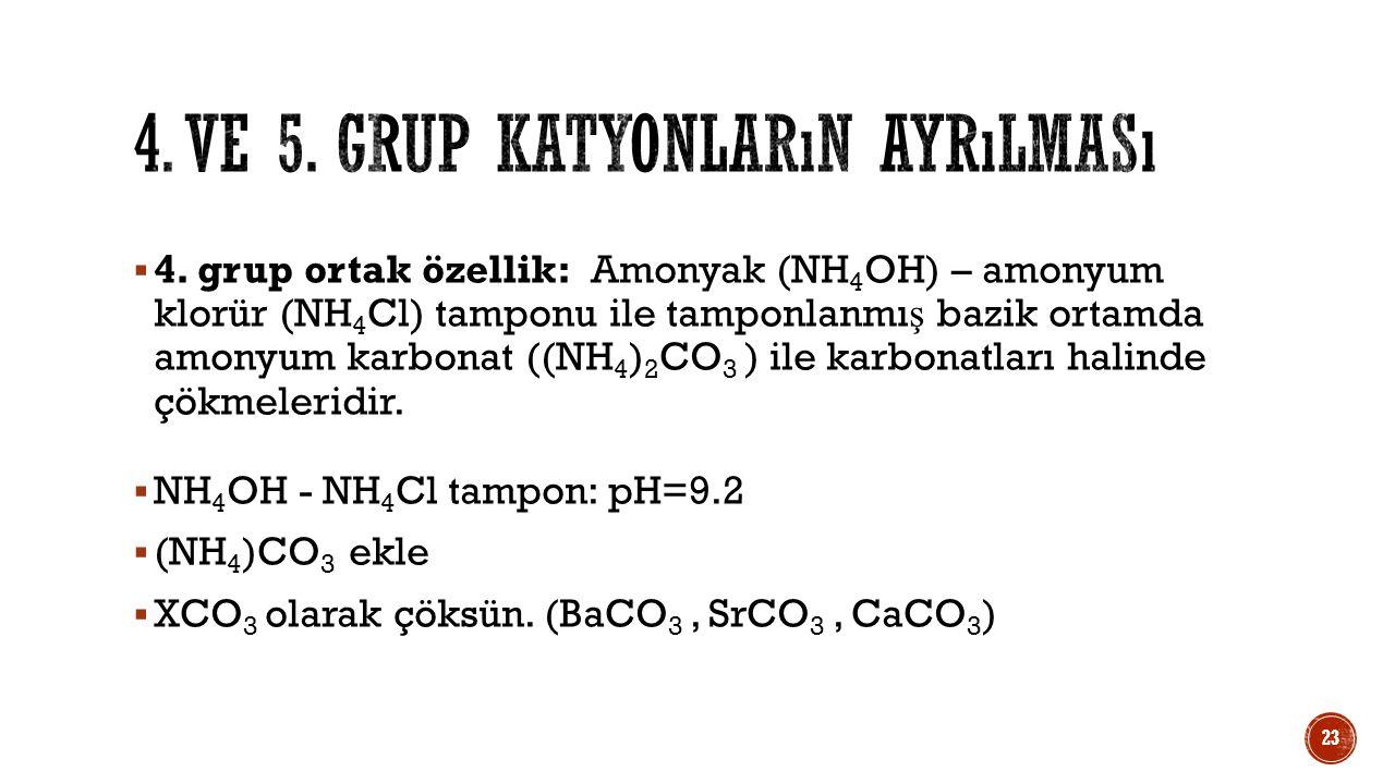  4. grup ortak özellik: Amonyak (NH 4 OH) – amonyum klorür (NH 4 Cl) tamponu ile tamponlanmı ş bazik ortamda amonyum karbonat ((NH 4 ) 2 CO 3 ) ile k