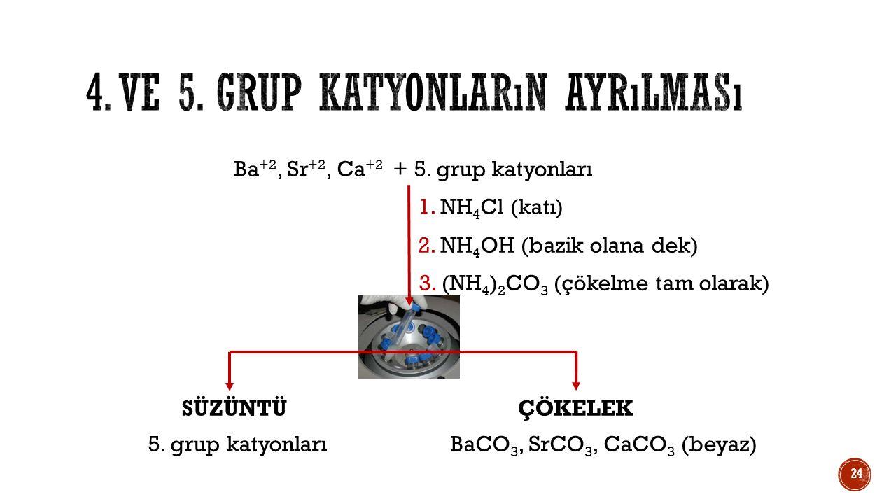 Ba +2, Sr +2, Ca +2 + 5. grup katyonları 1. NH 4 Cl (katı) 2. NH 4 OH (bazik olana dek) 3. (NH 4 ) 2 CO 3 (çökelme tam olarak) SÜZÜNTÜÇÖKELEK 5. grup