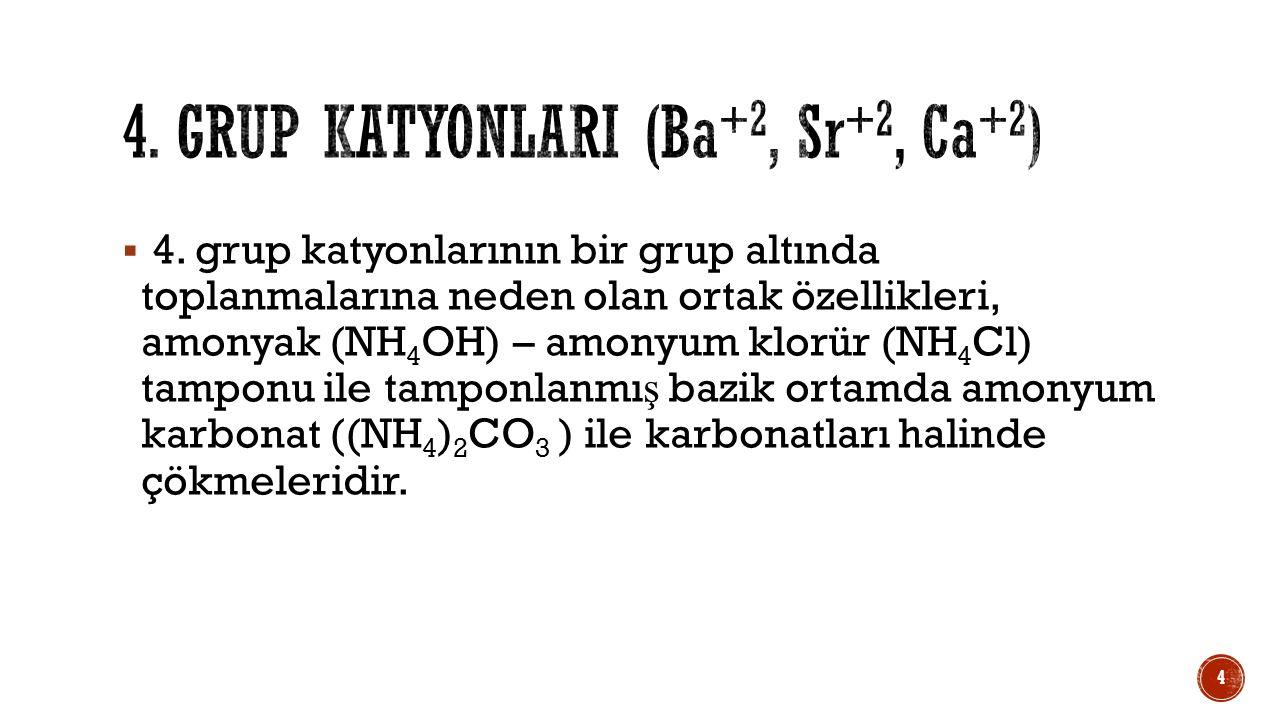  4. grup katyonlarının bir grup altında toplanmalarına neden olan ortak özellikleri, amonyak (NH 4 OH) – amonyum klorür (NH 4 Cl) tamponu ile tamponl