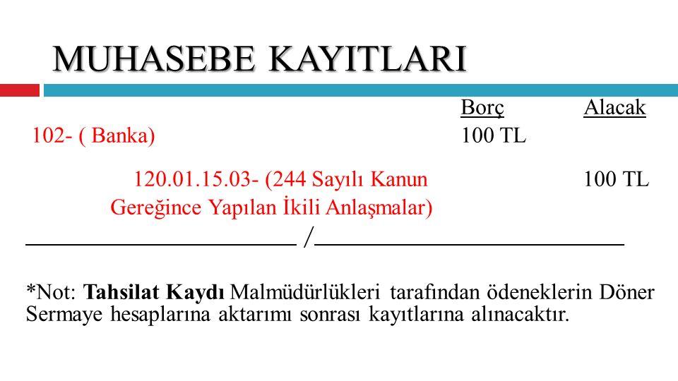 MUHASEBE KAYITLARI Borç Alacak 102- ( Banka) 100 TL 120.01.15.03- (244 Sayılı Kanun 100 TL Gereğince Yapılan İkili Anlaşmalar) / _____ *Not: Tahsilat