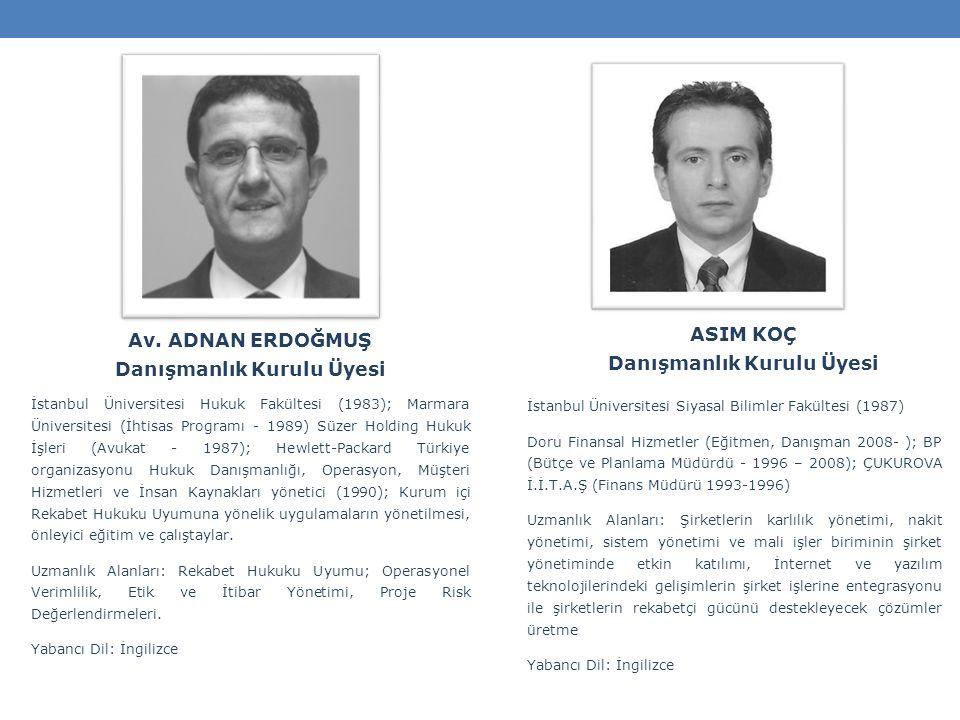ASIM KOÇ Danışmanlık Kurulu Üyesi İstanbul Üniversitesi Siyasal Bilimler Fakültesi (1987) Doru Finansal Hizmetler (Eğitmen, Danışman 2008- ); BP (Bütçe ve Planlama Müdürdü - 1996 – 2008); ÇUKUROVA İ.İ.T.A.Ş (Finans Müdürü 1993-1996) Uzmanlık Alanları: Şirketlerin karlılık yönetimi, nakit yönetimi, sistem yönetimi ve mali işler biriminin şirket yönetiminde etkin katılımı, İnternet ve yazılım teknolojilerindeki gelişimlerin şirket işlerine entegrasyonu ile şirketlerin rekabetçi gücünü destekleyecek çözümler üretme Yabancı Dil: İngilizce Av.