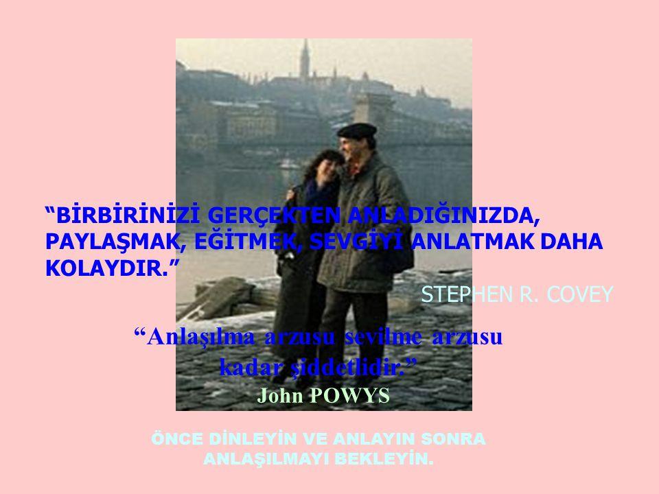 Anlaşılma arzusu sevilme arzusu kadar şiddetlidir. John POWYS ÖNCE DİNLEYİN VE ANLAYIN SONRA ANLAŞILMAYI BEKLEYİN.