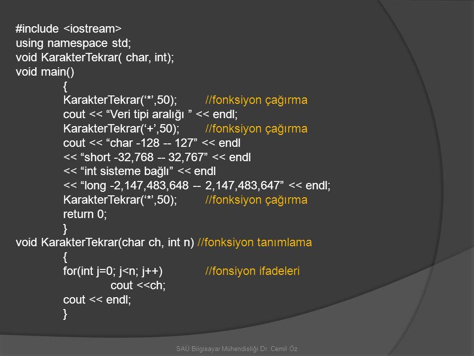 SAÜ Bilgisayar Mühendisliği Dr. Cemil Öz #include using namespace std; void KarakterTekrar( char, int); void main() { KarakterTekrar('*',50);//fonksiy