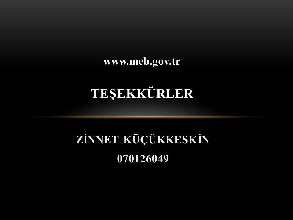 ZİNNET KÜÇÜKKESKİN 070126049 TEŞEKKÜRLER www.meb.gov.tr