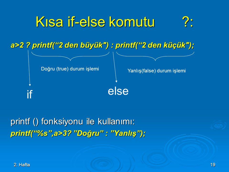 2.Hafta19 Kısa if-else komutu ?: a>2 .