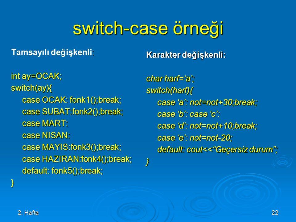 2. Hafta22 switch-case örneği : Tamsayılı değişkenli: int ay=OCAK; switch(ay){ case OCAK: fonk1();break; case SUBAT:fonk2();break; case MART: case NIS