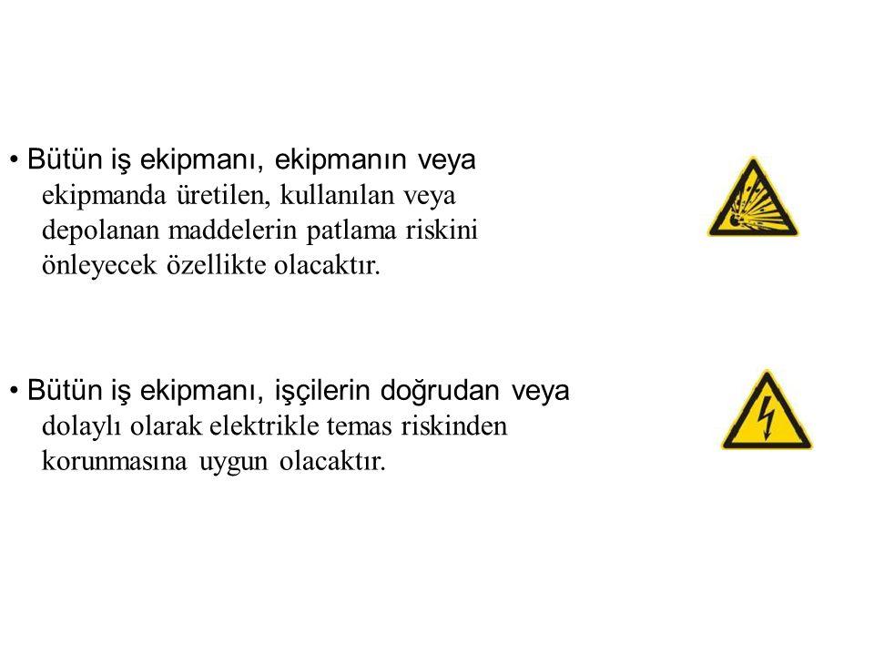 Bütün iş ekipmanı, ekipmanın veya ekipmanda üretilen, kullanılan veya depolanan maddelerin patlama riskini önleyecek özellikte olacaktır.