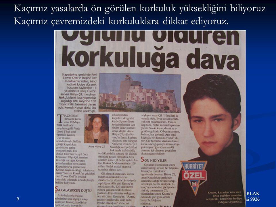 29 Hikmet Nurhan PARLAK Elektrik Mühendisi 9926 İş Kazaları-Sebeplere Göre (2001) Istatistiki değerler SSK İnternet sitesinden alınmıştır.