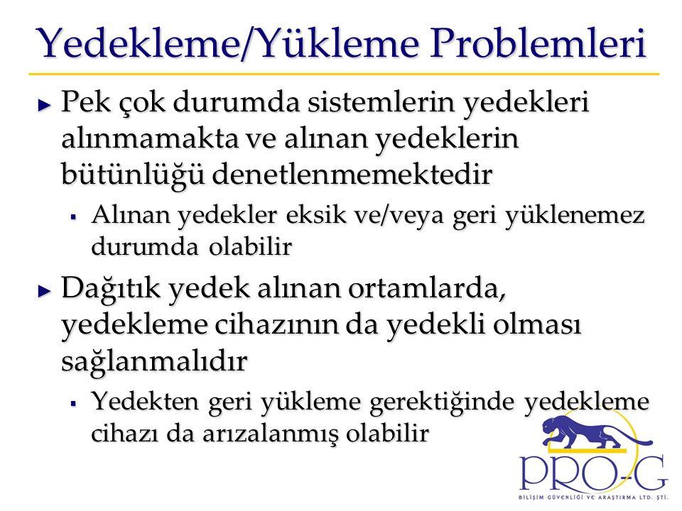 Yedekleme/Yükleme Problemleri ► Pek çok durumda sistemlerin yedekleri alınmamakta ve alınan yedeklerin bütünlüğü denetlenmemektedir  Alınan yedekler