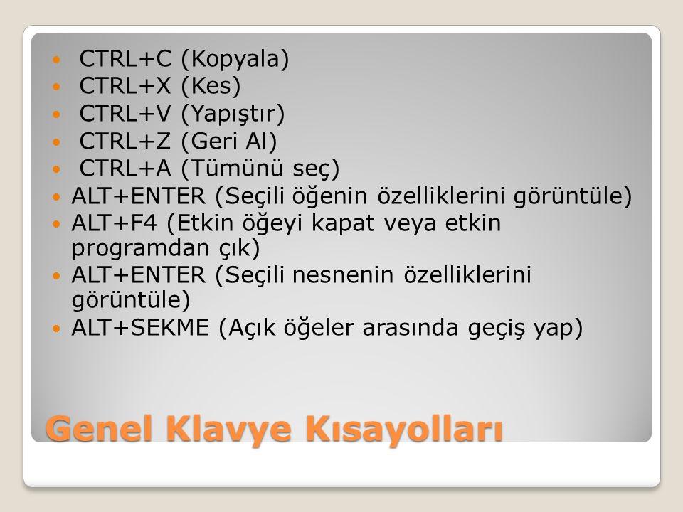 Genel Klavye Kısayolları CTRL+C (Kopyala) CTRL+X (Kes) CTRL+V (Yapıştır) CTRL+Z (Geri Al) CTRL+A (Tümünü seç) ALT+ENTER (Seçili öğenin özelliklerini görüntüle) ALT+F4 (Etkin öğeyi kapat veya etkin programdan çık) ALT+ENTER (Seçili nesnenin özelliklerini görüntüle) ALT+SEKME (Açık öğeler arasında geçiş yap)