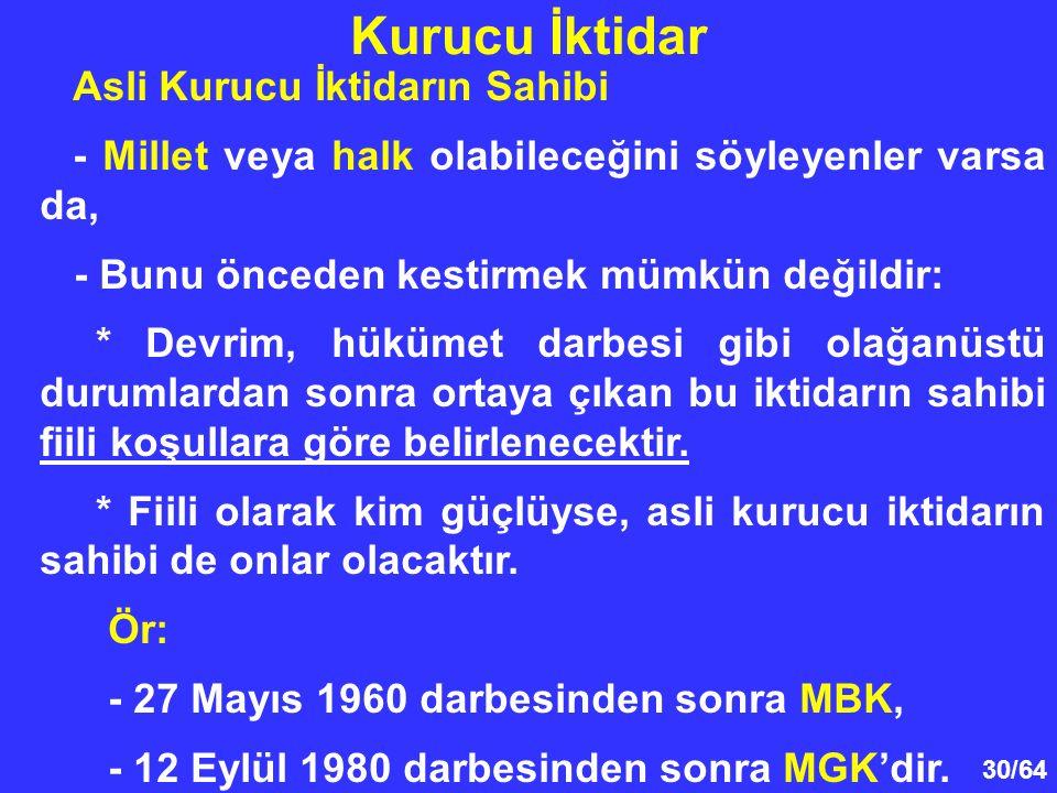 30/64 Asli Kurucu İktidarın Sahibi - Millet veya halk olabileceğini söyleyenler varsa da, - Bunu önceden kestirmek mümkün değildir: * Devrim, hükümet