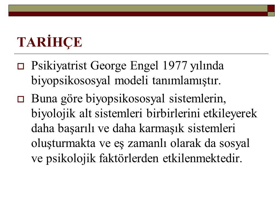 TARİHÇE  Psikiyatrist George Engel 1977 yılında biyopsikososyal modeli tanımlamıştır.  Buna göre biyopsikososyal sistemlerin, biyolojik alt sistemle