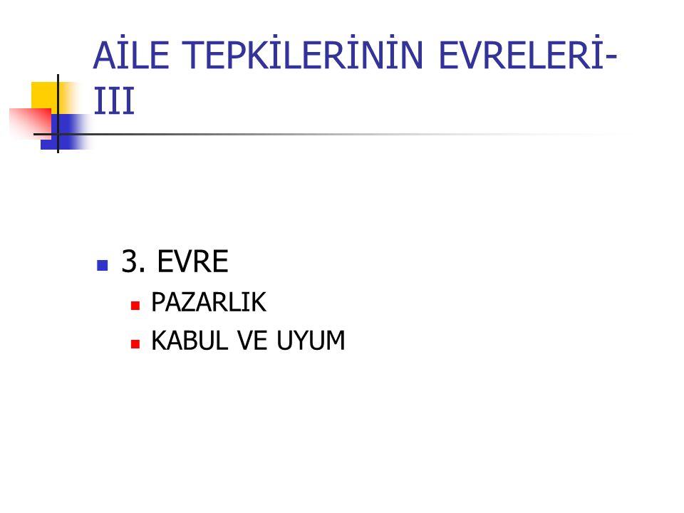 AİLE TEPKİLERİNİN EVRELERİ- III 3. EVRE PAZARLIK KABUL VE UYUM
