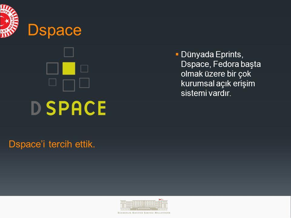Dspace  Dünyada Eprints, Dspace, Fedora başta olmak üzere bir çok kurumsal açık erişim sistemi vardır.