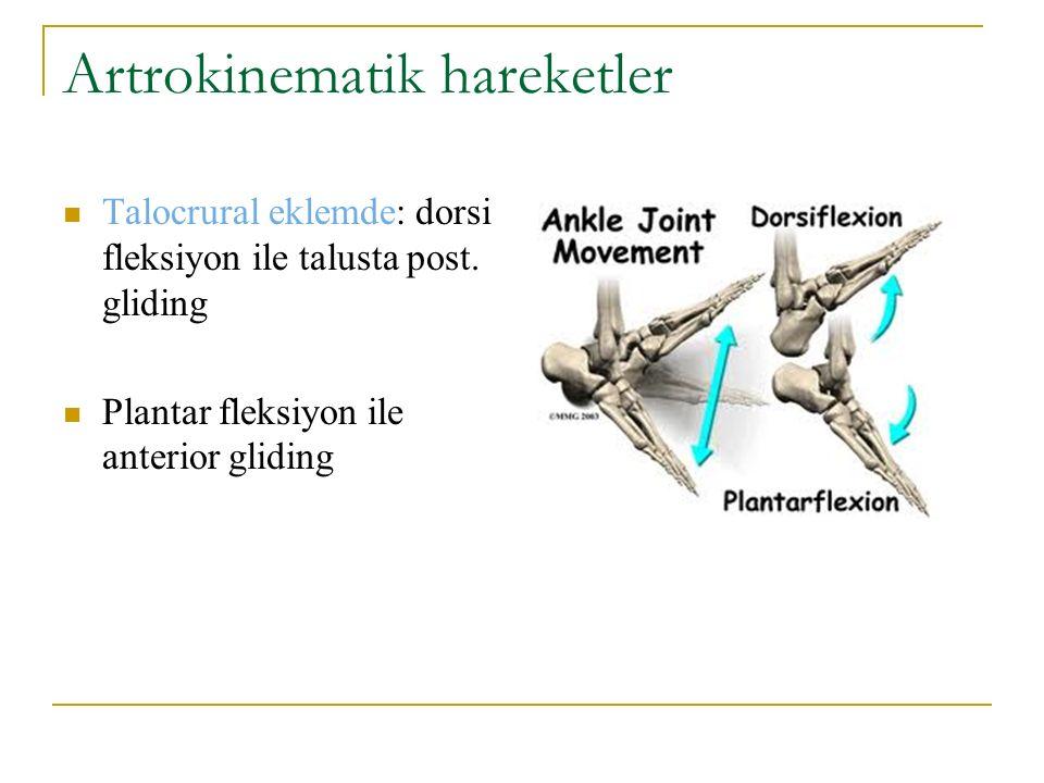 Artrokinematik hareketler Talocrural eklemde: dorsi fleksiyon ile talusta post. gliding Plantar fleksiyon ile anterior gliding