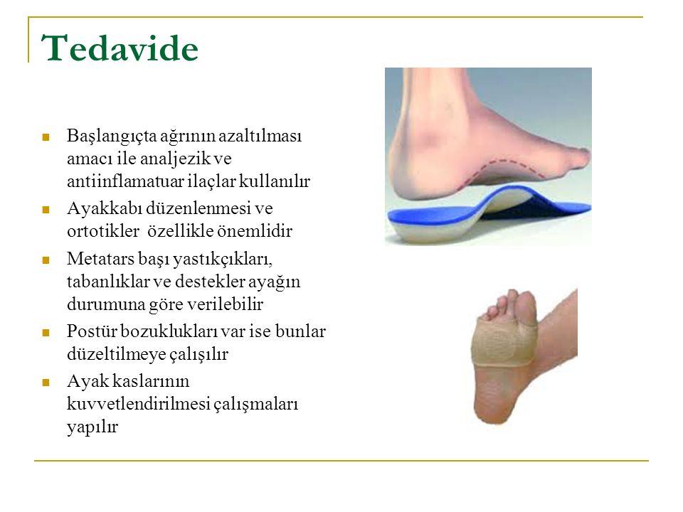 Tedavide Başlangıçta ağrının azaltılması amacı ile analjezik ve antiinflamatuar ilaçlar kullanılır Ayakkabı düzenlenmesi ve ortotikler özellikle öneml