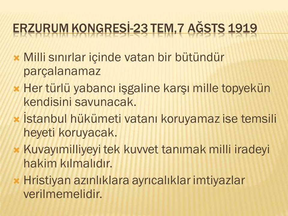  Milli sınırlar içinde vatan bir bütündür parçalanamaz  Her türlü yabancı işgaline karşı mille topyekün kendisini savunacak.  İstanbul hükümeti vat