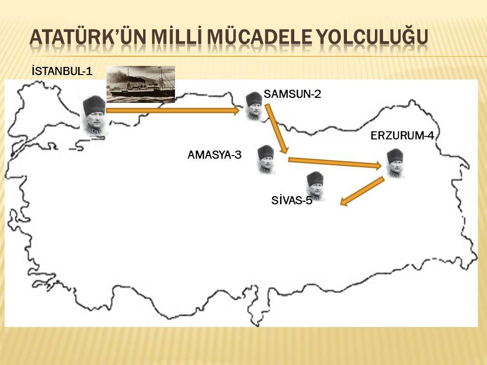 İSTANBUL-1 SAMSUN-2 AMASYA-3 ERZURUM-4 SİVAS-5