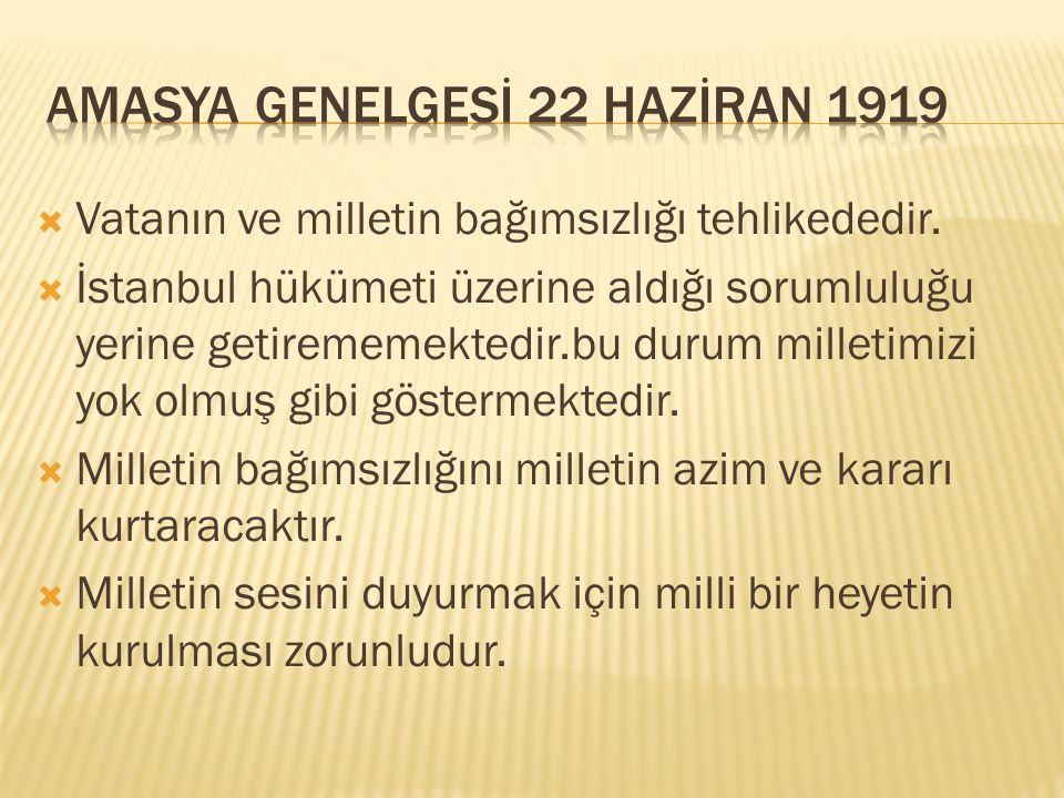  Sivas'ta milli bir kongre toplanması kararlaştırıldı  Kongreye bütün illerden milletin güveni kazanmış 3 temsilci katılmasına karar verildi.