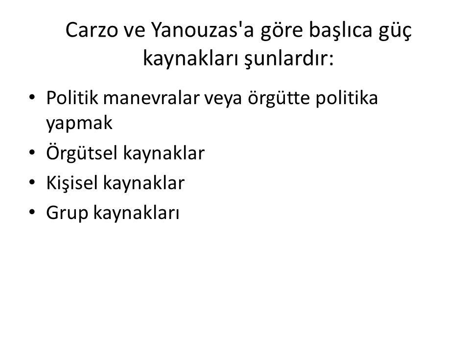 Carzo ve Yanouzas'a göre başlıca güç kaynakları şunlardır: Politik manevralar veya örgütte politika yapmak Örgütsel kaynaklar Kişisel kaynaklar Grup k