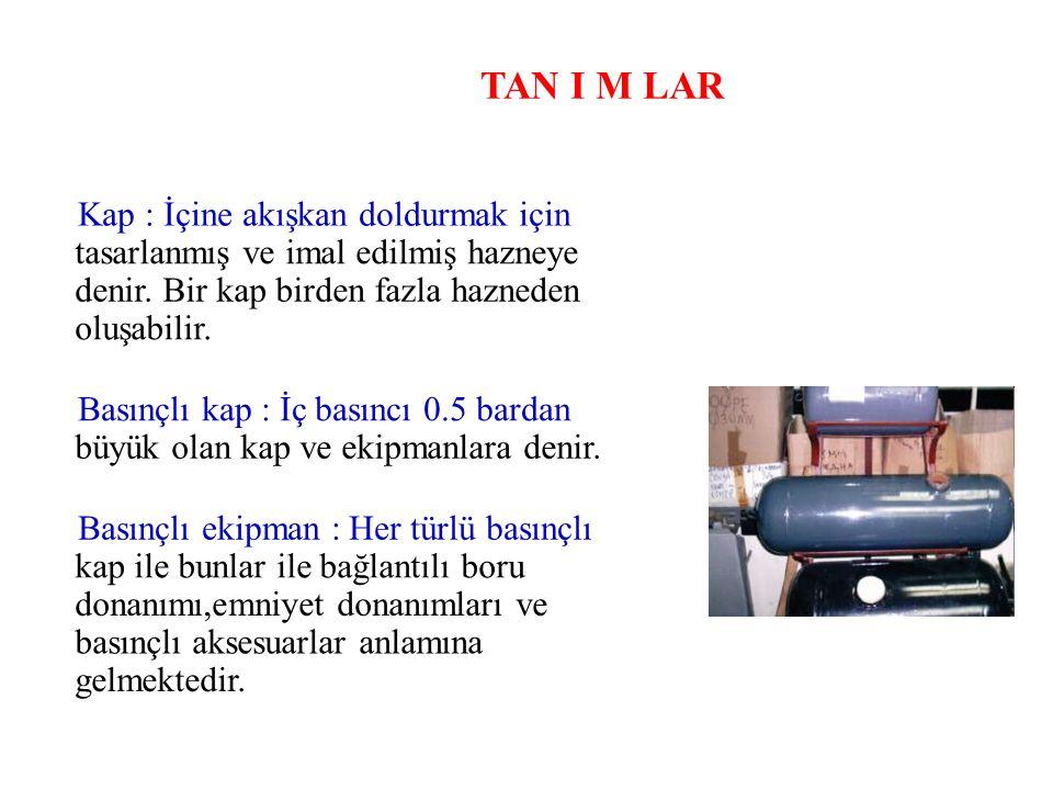 TAN I M LAR Emniyet aksesuarları : Basınçlı kabın emniyetle işletilmesini sağlamak için gerekli olan cihazlardır.