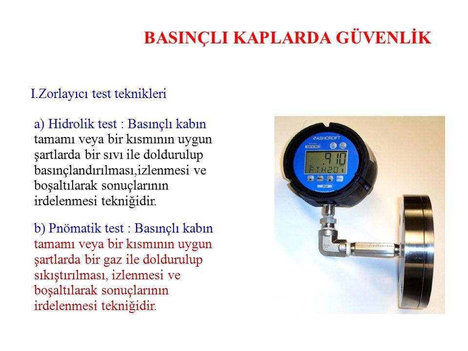 BASINÇLI KAPLARDA GÜVENLİK I.Zorlayıcı test teknikleri a) Hidrolik test : Basınçlı kabın tamamı veya bir kısmının uygun şartlarda bir sıvı ile dolduru