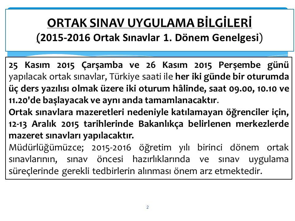 ORTAK SINAV UYGULAMA BİLGİLERİ (2015-2016 Ortak Sınavlar 1.