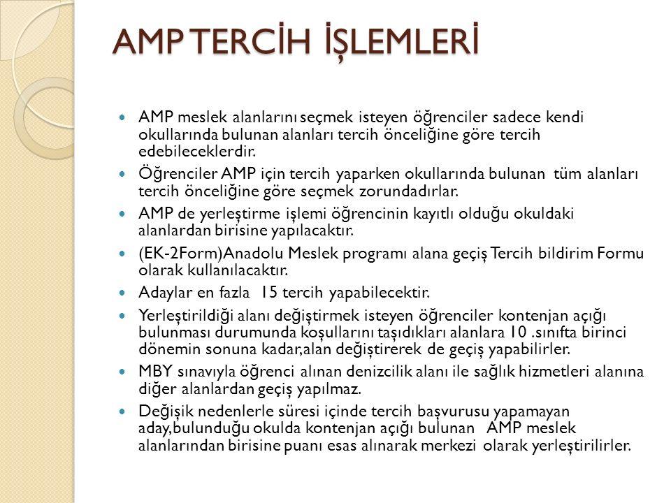 AMP TERC İ H İ ŞLEMLER İ AMP meslek alanlarını seçmek isteyen ö ğ renciler sadece kendi okullarında bulunan alanları tercih önceli ğ ine göre tercih edebileceklerdir.
