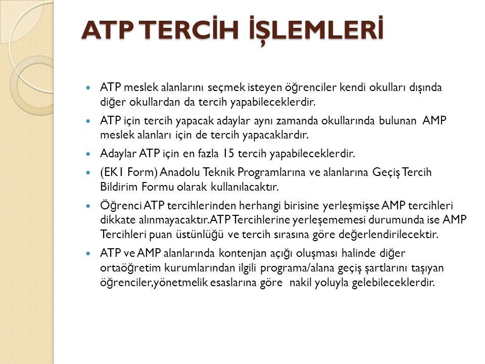 ATP TERC İ H İ ŞLEMLER İ ATP meslek alanlarını seçmek isteyen ö ğ renciler kendi okulları dışında di ğ er okullardan da tercih yapabileceklerdir.