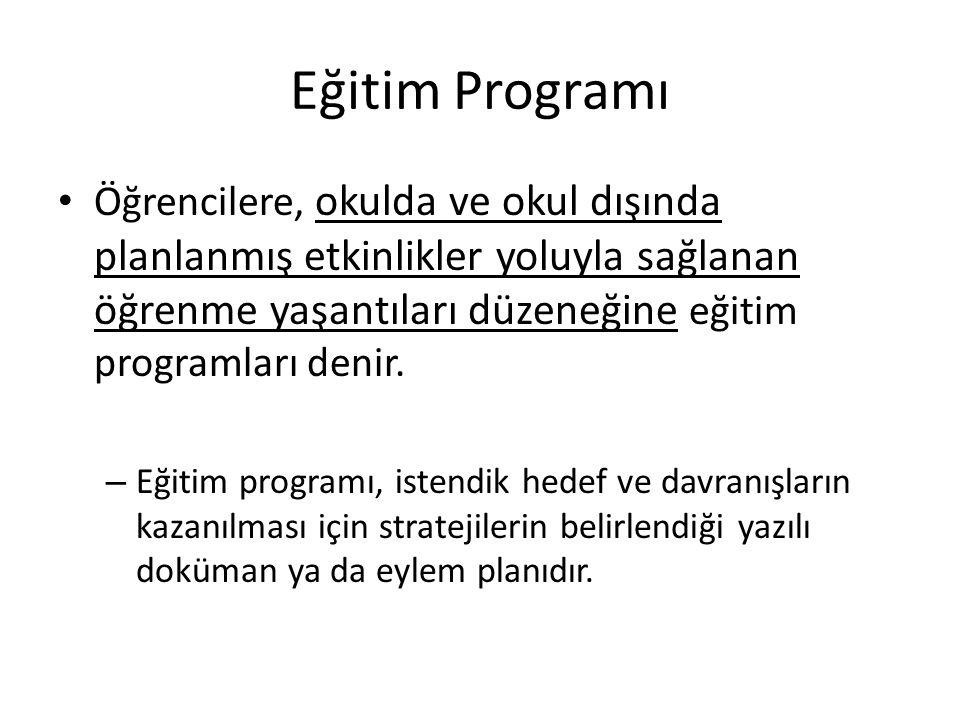 Eğitim Programı Öğrencilere, okulda ve okul dışında planlanmış etkinlikler yoluyla sağlanan öğrenme yaşantıları düzeneğine eğitim programları denir. –