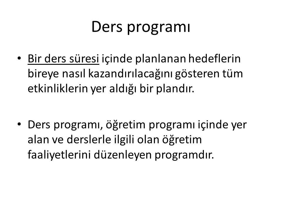 Ders programı Bir ders süresi içinde planlanan hedeflerin bireye nasıl kazandırılacağını gösteren tüm etkinliklerin yer aldığı bir plandır. Ders progr