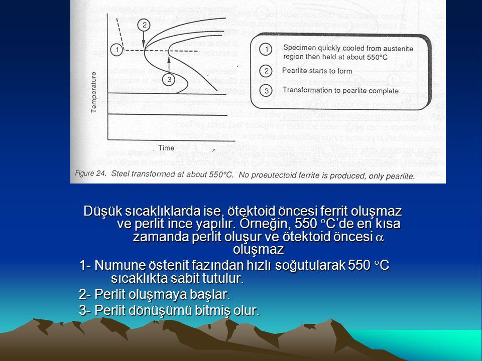 Düşük sıcaklıklarda ise, ötektoid öncesi ferrit oluşmaz ve perlit ince yapılır. Örneğin, 550  C'de en kısa zamanda perlit oluşur ve ötektoid öncesi 