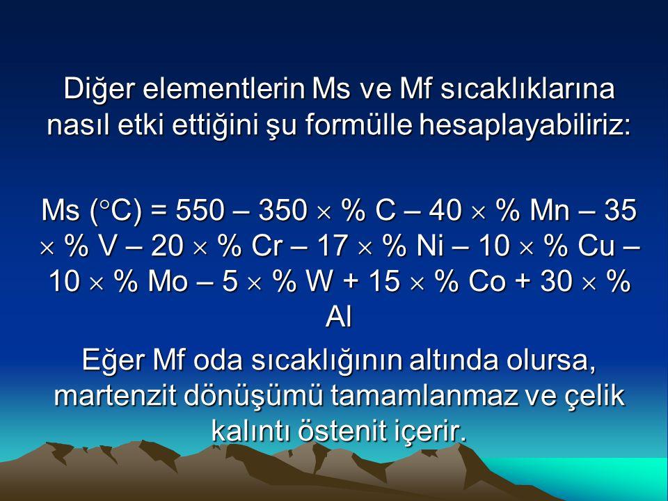 Diğer elementlerin Ms ve Mf sıcaklıklarına nasıl etki ettiğini şu formülle hesaplayabiliriz: Ms (  C) = 550 – 350  % C – 40  % Mn – 35  % V – 20 