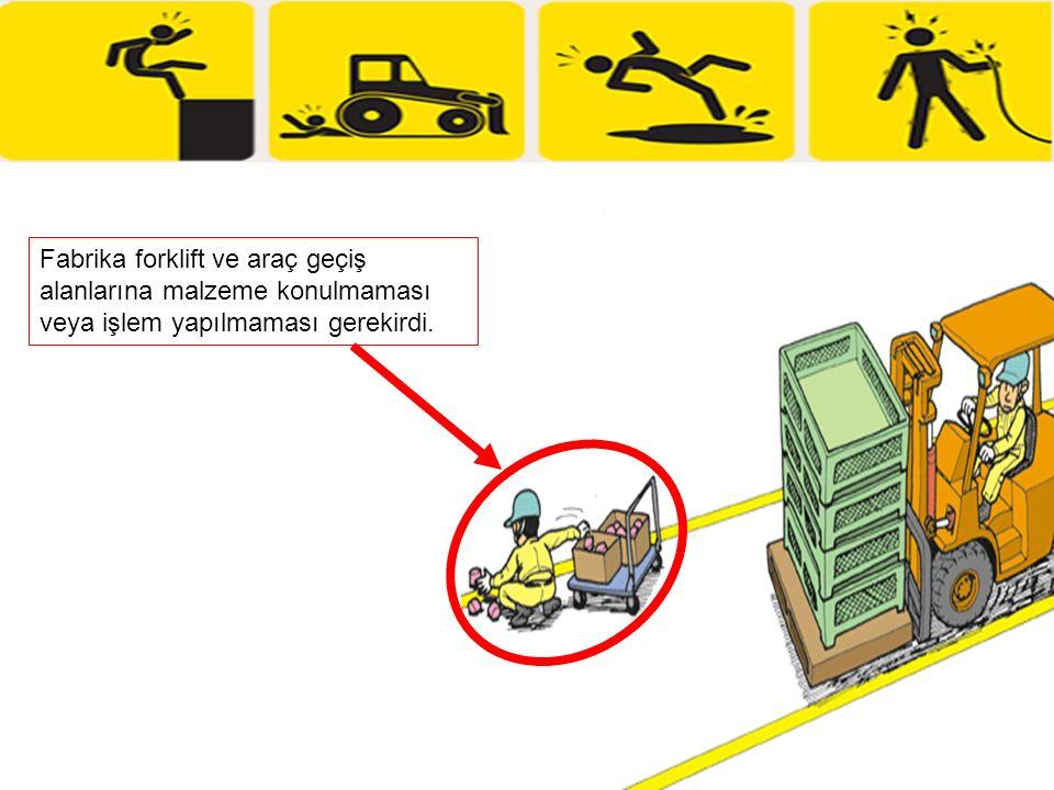 Fabrika forklift ve araç geçiş alanlarına malzeme konulmaması veya işlem yapılmaması gerekirdi.