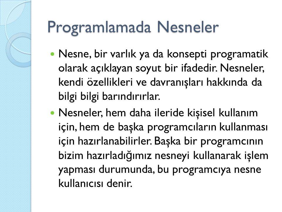 Programlamada Nesneler Nesne, bir varlık ya da konsepti programatik olarak açıklayan soyut bir ifadedir. Nesneler, kendi özellikleri ve davranışları h