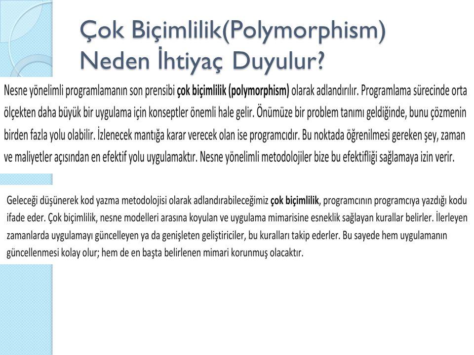 Çok Biçimlilik(Polymorphism) Neden İ htiyaç Duyulur?