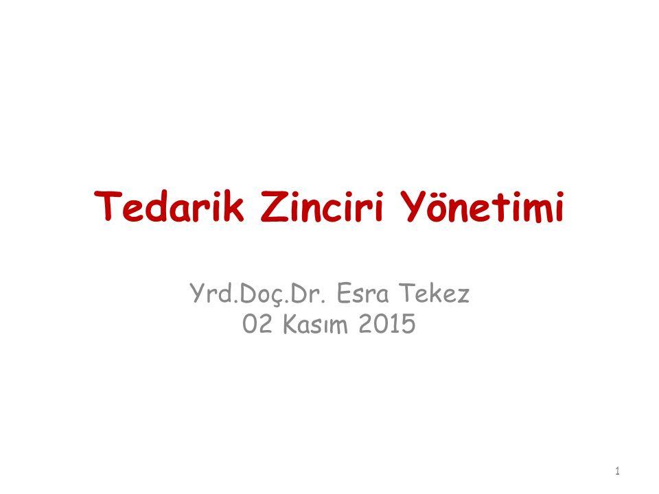 Tedarik Zinciri Yönetimi Yrd.Doç.Dr. Esra Tekez 02 Kasım 2015 1