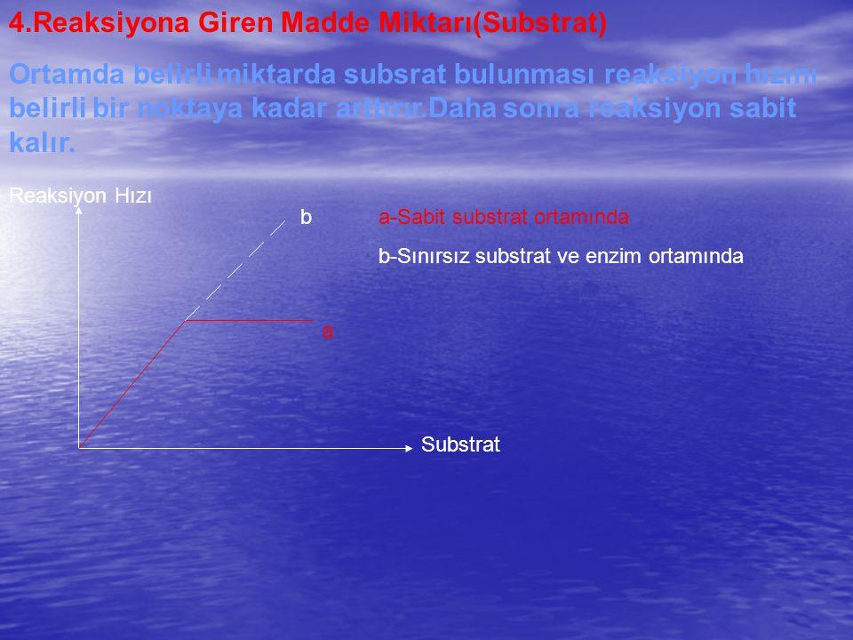 4.Reaksiyona Giren Madde Miktarı(Substrat) Ortamda belirli miktarda subsrat bulunması reaksiyon hızını belirli bir noktaya kadar arttırır.Daha sonra r