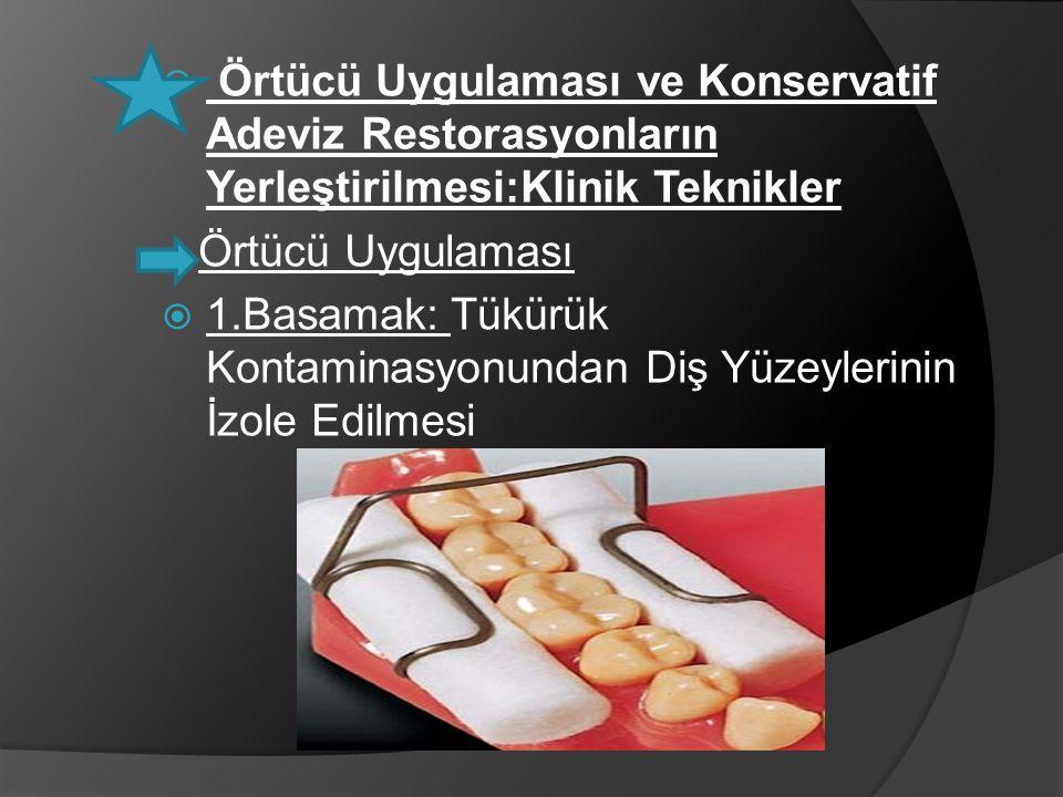  Örtücü Uygulaması ve Konservatif Adeviz Restorasyonların Yerleştirilmesi:Klinik Teknikler Örtücü Uygulaması  1.Basamak: Tükürük Kontaminasyonundan
