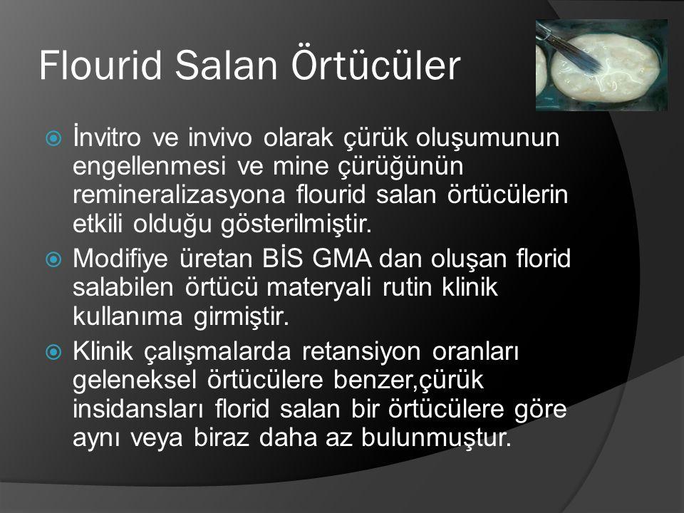 Flourid Salan Örtücüler  İnvitro ve invivo olarak çürük oluşumunun engellenmesi ve mine çürüğünün remineralizasyona flourid salan örtücülerin etkili