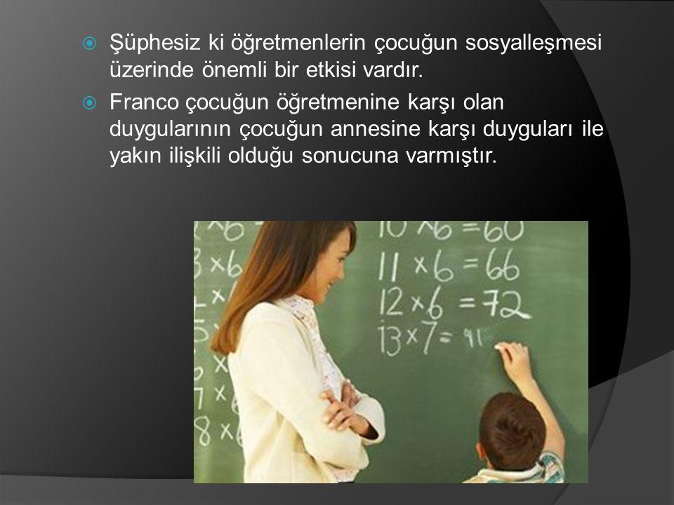  Şüphesiz ki öğretmenlerin çocuğun sosyalleşmesi üzerinde önemli bir etkisi vardır.  Franco çocuğun öğretmenine karşı olan duygularının çocuğun anne