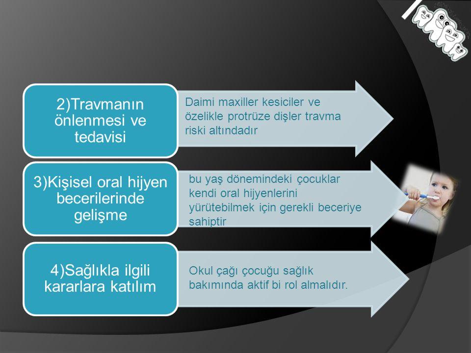 2)Travmanın önlenmesi ve tedavisi 3)Kişisel oral hijyen becerilerinde gelişme 4)Sağlıkla ilgili kararlara katılım Daimi maxiller kesiciler ve özelikle