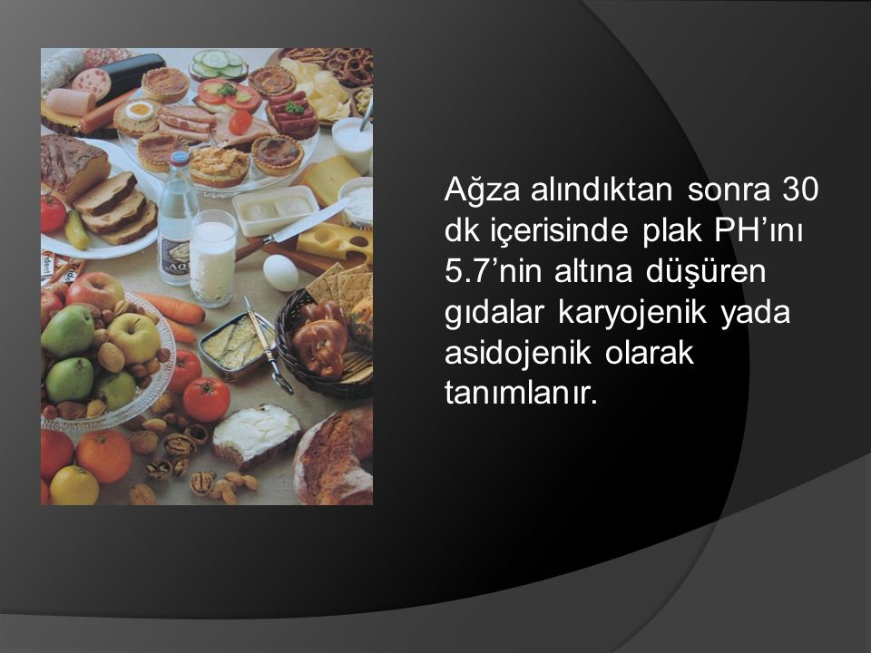 Ağza alındıktan sonra 30 dk içerisinde plak PH'ını 5.7'nin altına düşüren gıdalar karyojenik yada asidojenik olarak tanımlanır.