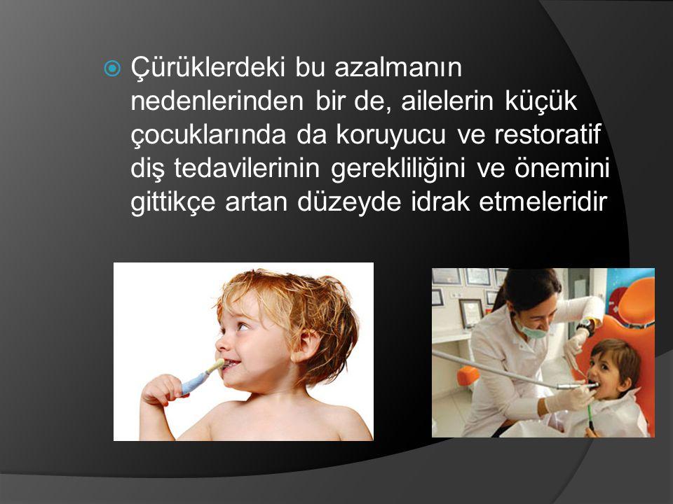  Çürüklerdeki bu azalmanın nedenlerinden bir de, ailelerin küçük çocuklarında da koruyucu ve restoratif diş tedavilerinin gerekliliğini ve önemini gi