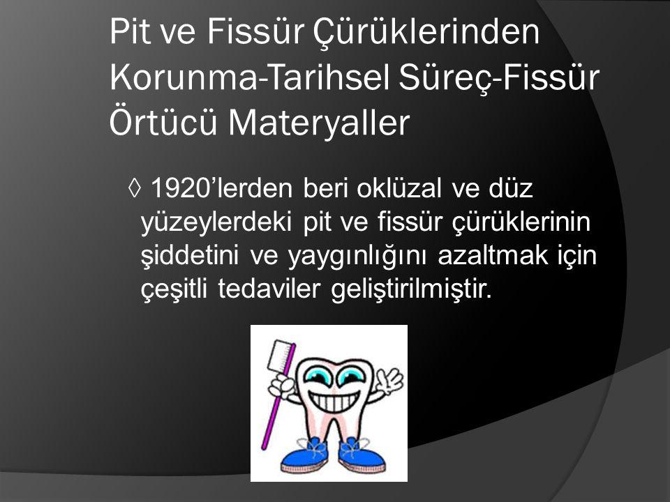 Pit ve Fissür Çürüklerinden Korunma-Tarihsel Süreç-Fissür Örtücü Materyaller ◊ 1920'lerden beri oklüzal ve düz yüzeylerdeki pit ve fissür çürüklerinin