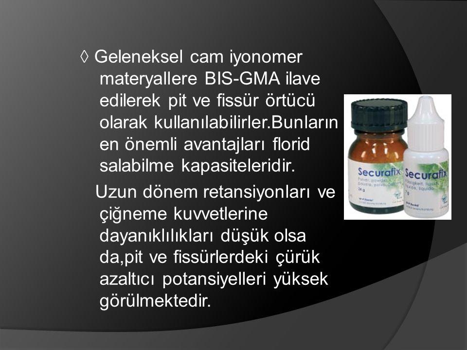 ◊ Geleneksel cam iyonomer materyallere BIS-GMA ilave edilerek pit ve fissür örtücü olarak kullanılabilirler.Bunların en önemli avantajları florid sala
