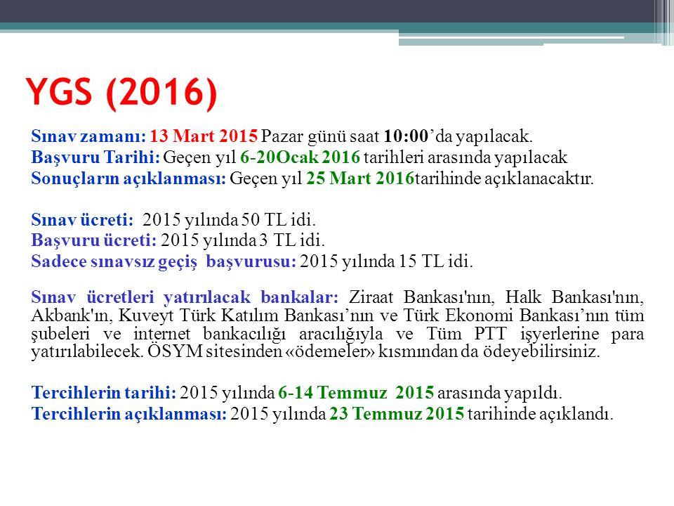 YGS (2016) Sınav zamanı: 13 Mart 2015 Pazar günü saat 10:00'da yapılacak. Başvuru Tarihi: Geçen yıl 6-20Ocak 2016 tarihleri arasında yapılacak Sonuçla