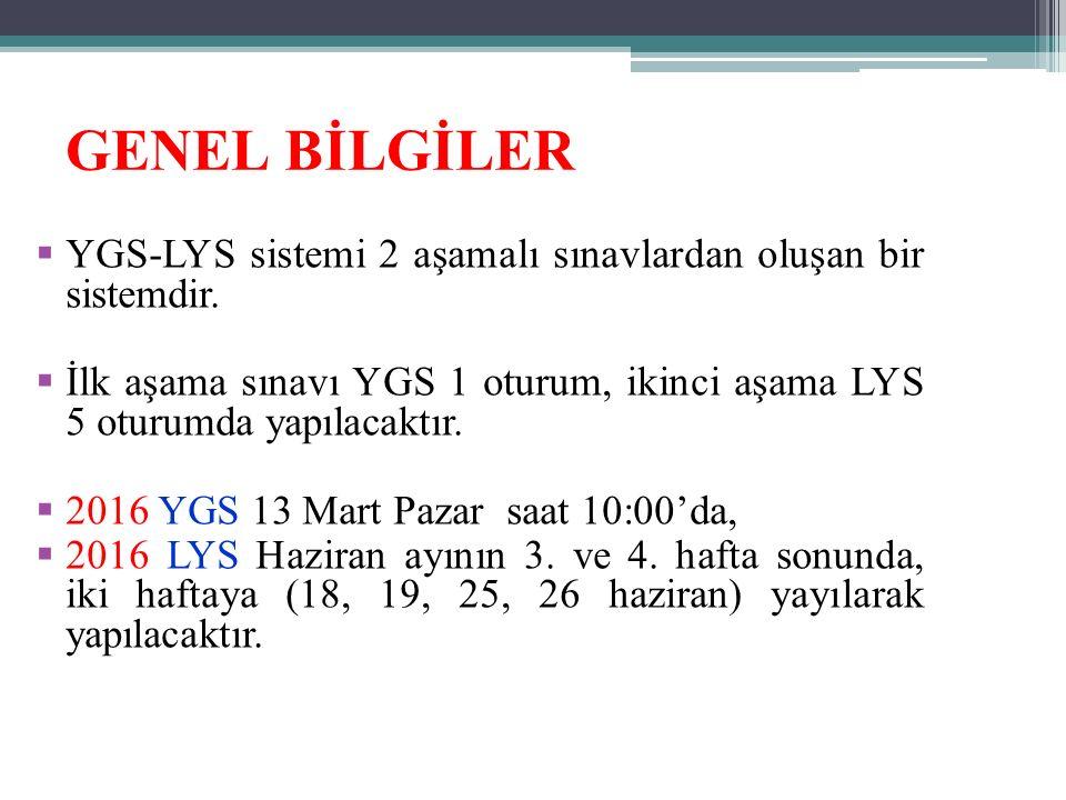 GENEL BİLGİLER  YGS-LYS sistemi 2 aşamalı sınavlardan oluşan bir sistemdir.  İlk aşama sınavı YGS 1 oturum, ikinci aşama LYS 5 oturumda yapılacaktır