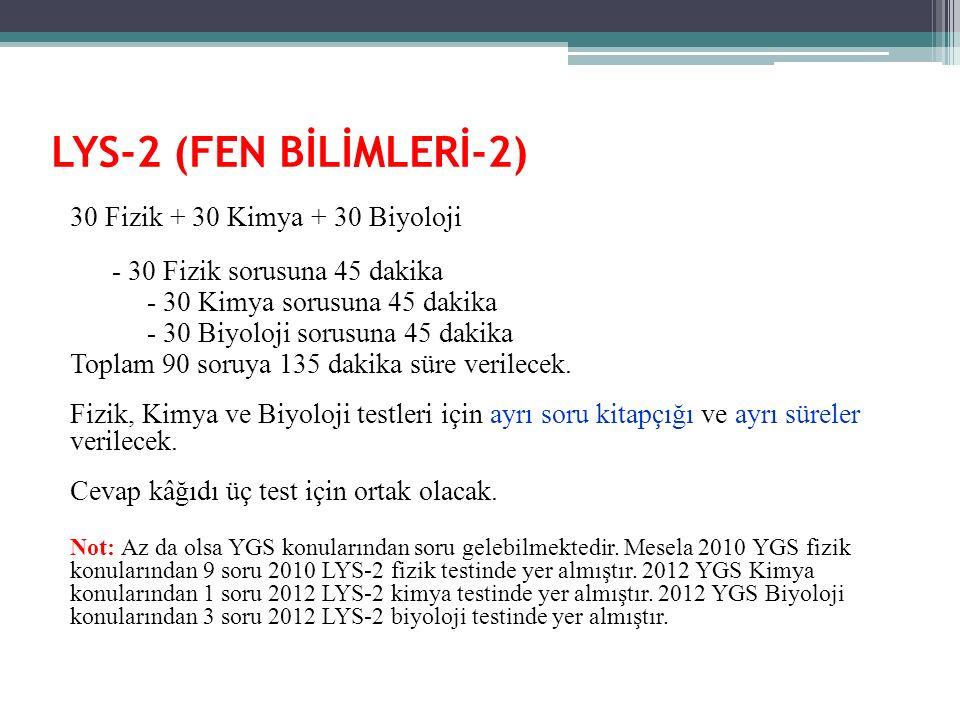LYS-2 (FEN BİLİMLERİ-2) 30 Fizik + 30 Kimya + 30 Biyoloji - 30 Fizik sorusuna 45 dakika - 30 Kimya sorusuna 45 dakika - 30 Biyoloji sorusuna 45 dakika